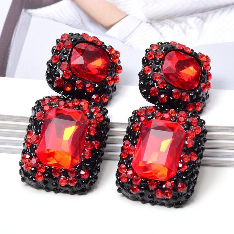Großhandel New quadratisches Metall Große helle Strass baumeln Ohrringe hochwertige Mode-Kristallschmucksache-Zusätze für Frauen
