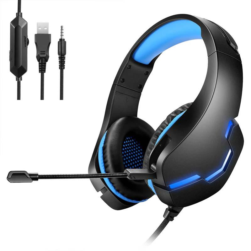 Yulass PS5 الألعاب سماعة قابل للسحب العصابة الضوضاء الغاء MIC ل Xbox / PC // الهاتف المحمول السلكية سماعات مع الصمام الخفيفة