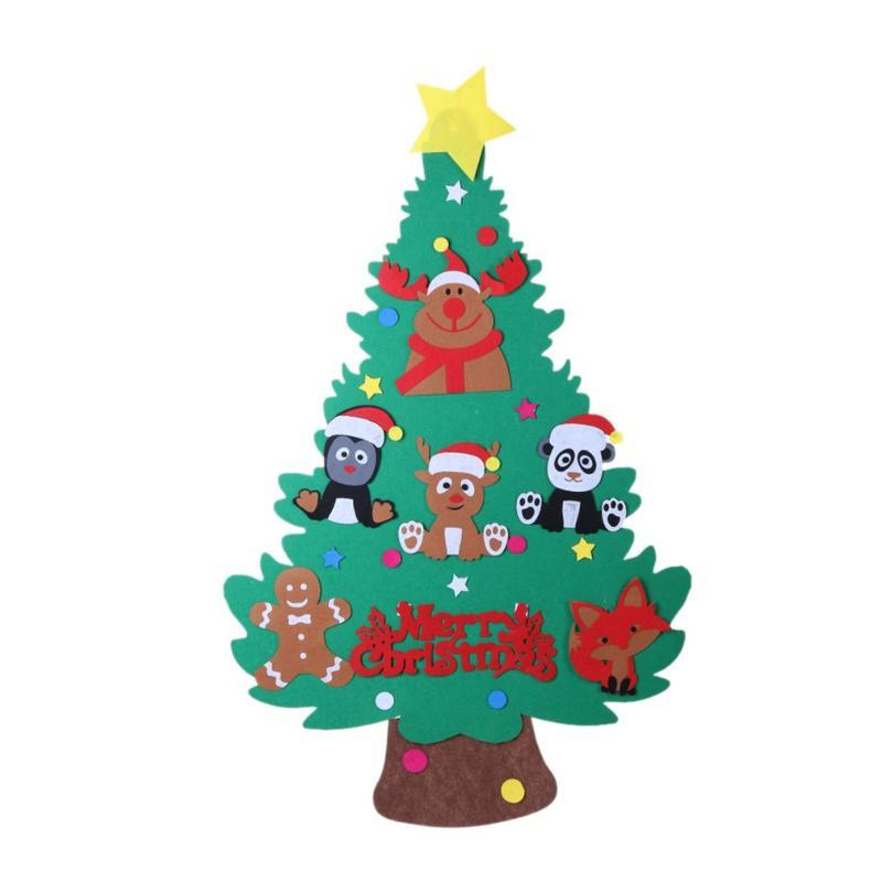 tipo de animal de feltro Árvore de Natal Set Com Ornamento Xmas presente Porta Wall Hanging Decoração Cute Gifts For Kids Crianças