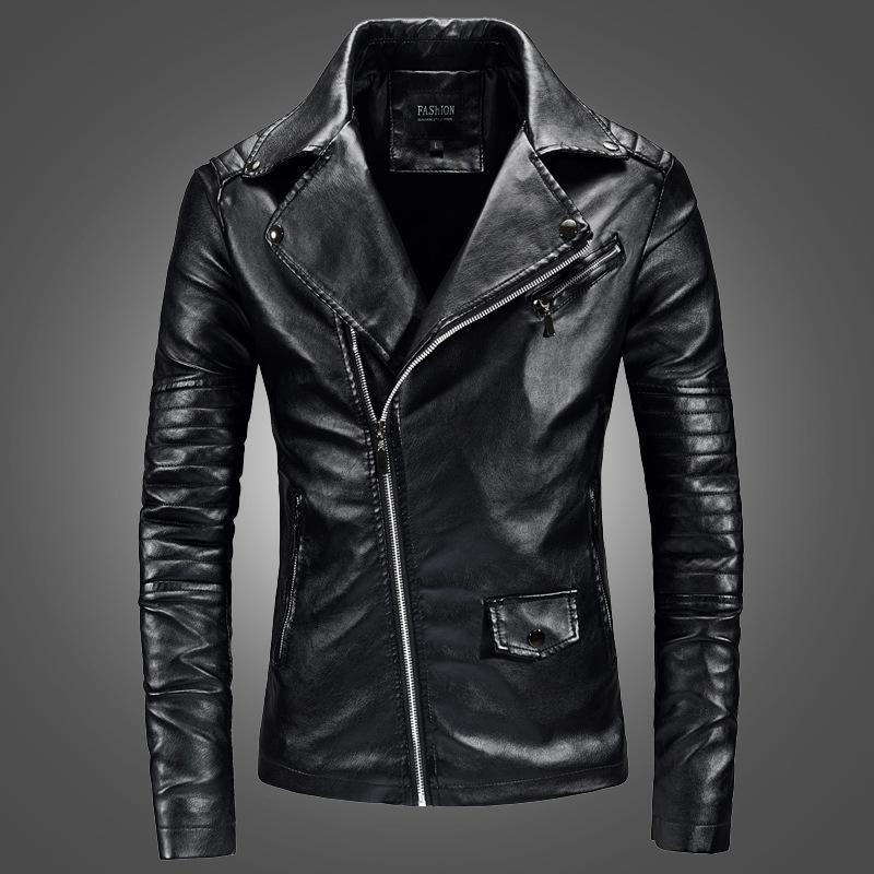 Nouvelle veste en cuir jeunesse coréenne PU veste en cuir revers hommes veste en cuir moto pour les hommes