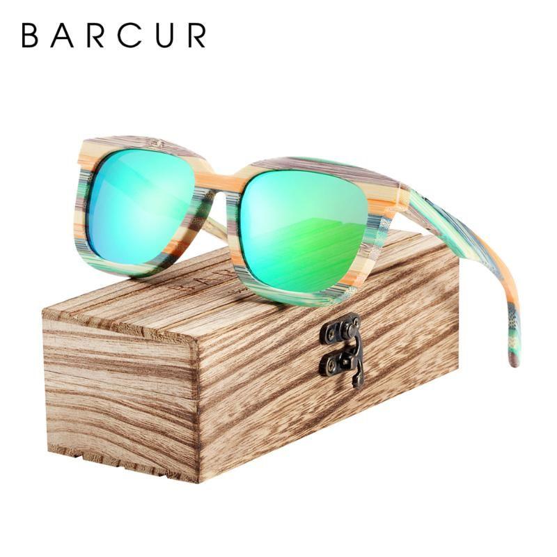 BARCUR madera único gafas de sol polarizadas Gafas de sol de bambú degradado Hombres Mujeres Deportes Gafas Cuadrado