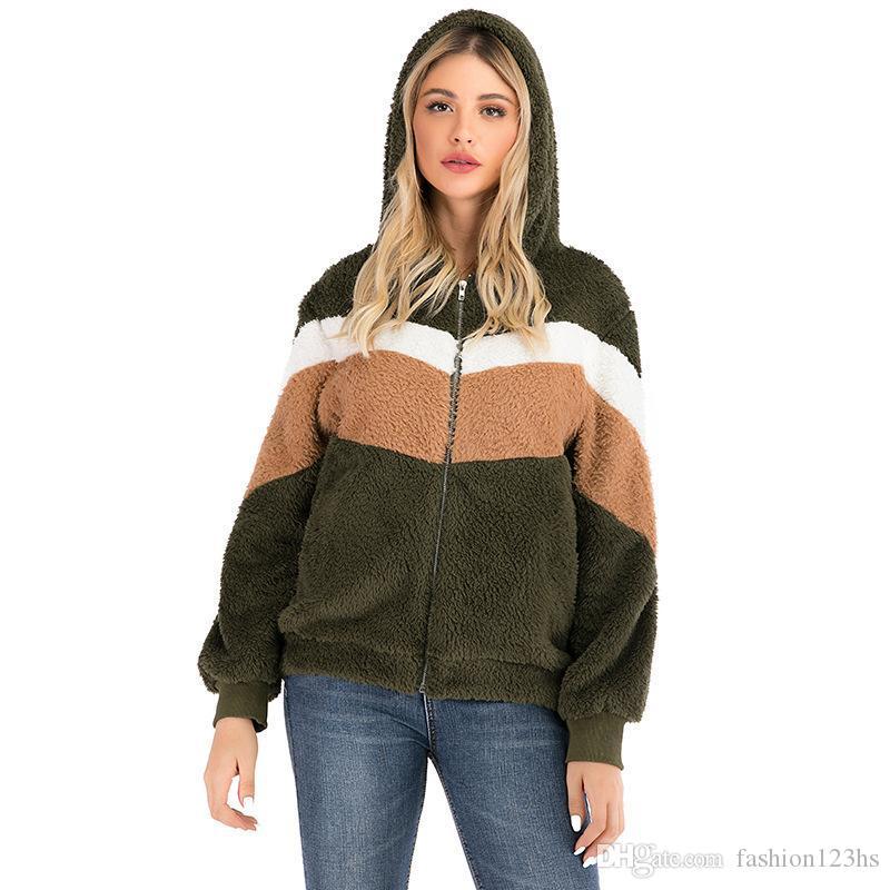 Yüksek kaliteli Rahat Teddy Faux Kürk Kapüşonlular Kadınlar Çizgili Uzun Kollu Kapşonlu Zip-up Sweatshirt Casual Palto Artı Boyutu Isınma Kalınlaşmak
