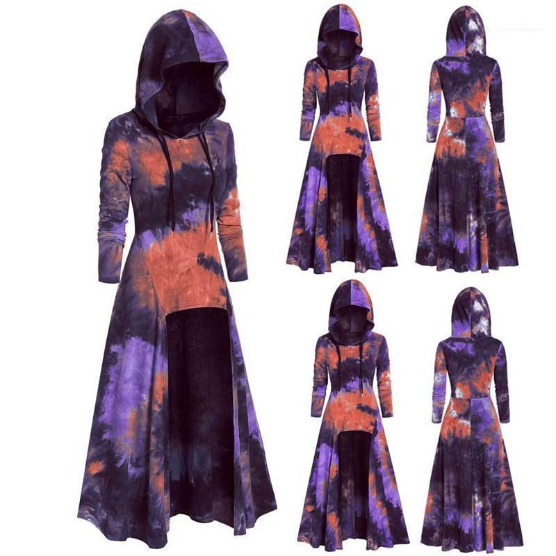Повседневная одежда Мода нерегулярного Женские панели с капюшоном Платье конструктора плаща Женщина Одежда Mulit Цветой печатью Для женщин
