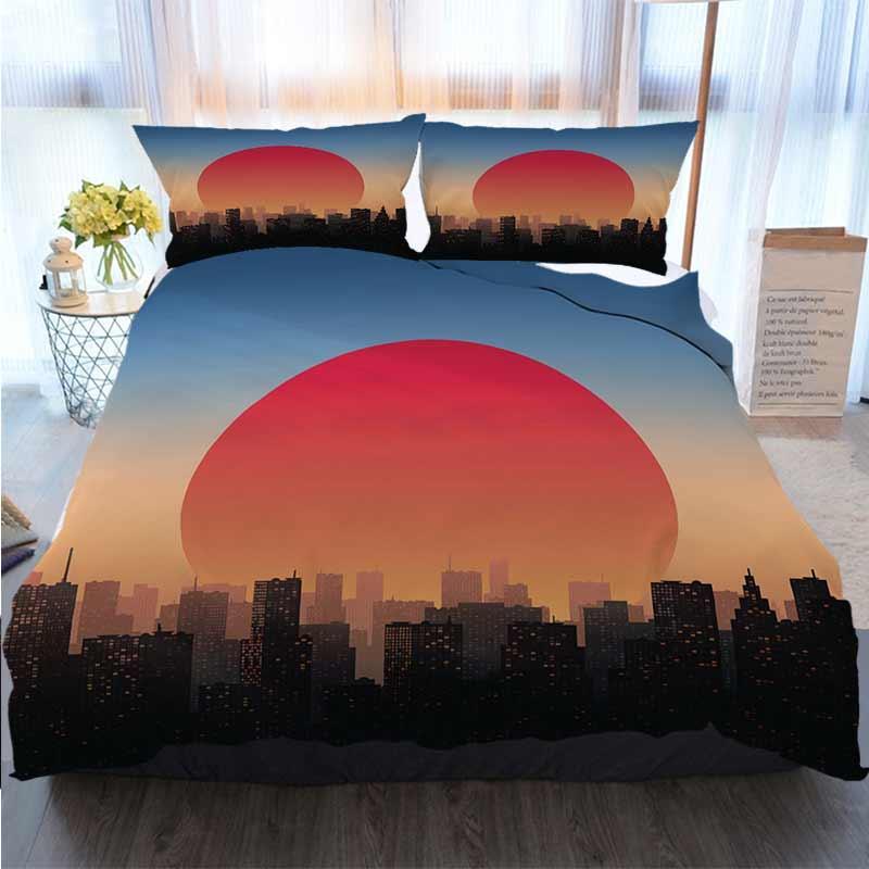 Bedding 3 Piece Duvet Cover Sets City At Sunset Home Luxury Soft Duvet Comforter Cover