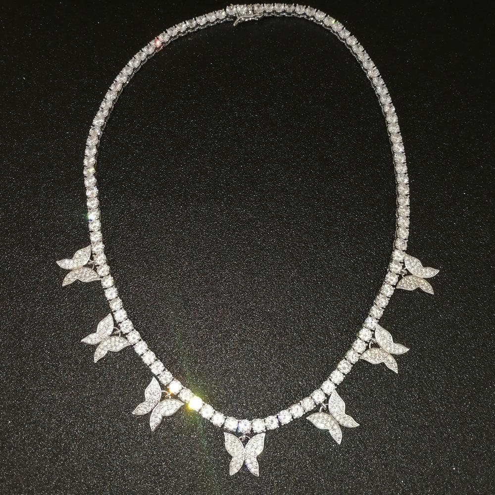 Bling Femmes Zircon Pierre cubain papillon chaîne Collier Set Dainty or et d'argent de diamant Collier Papillon