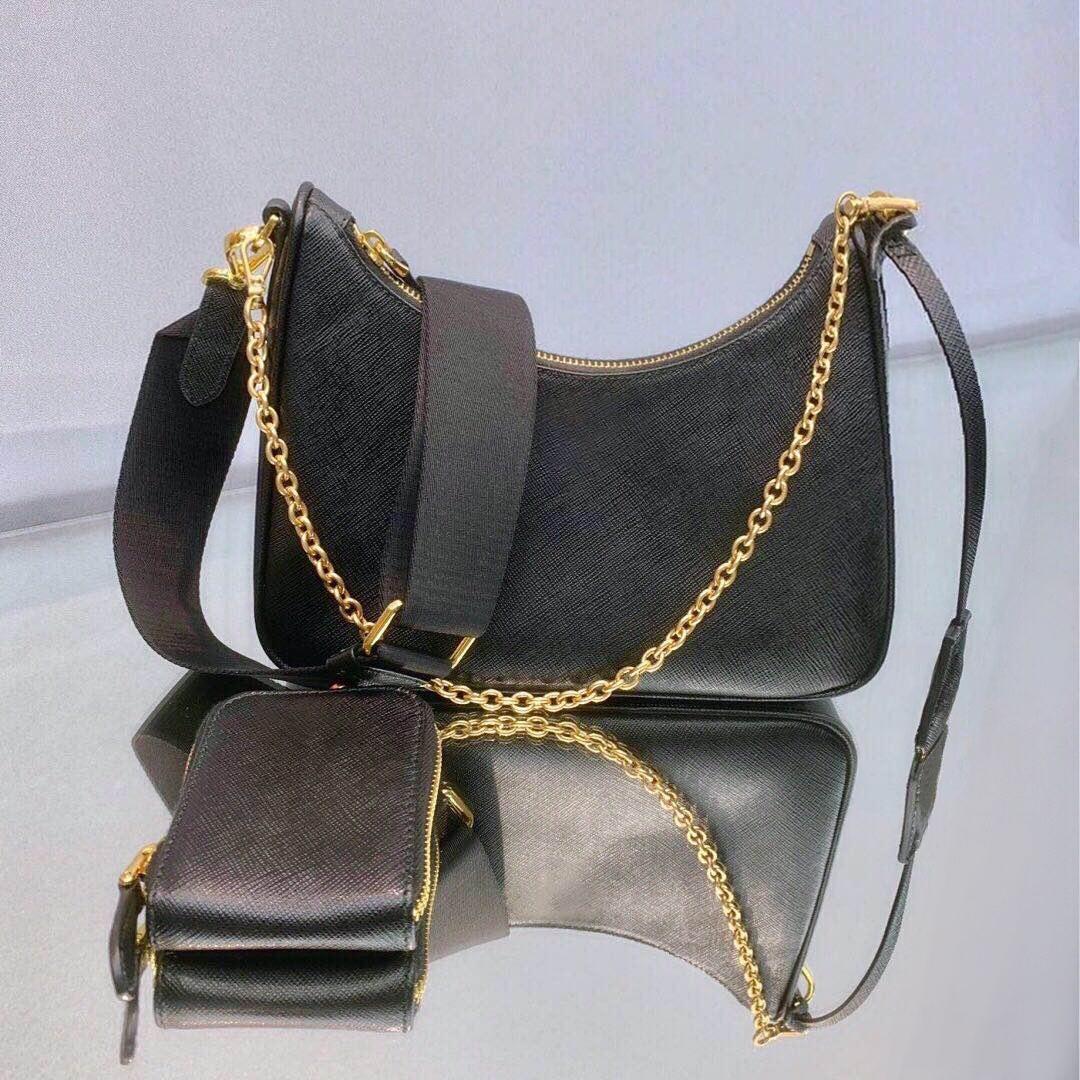 bolsa de couro hobo messenger bolsa de ombro único de mulheres de três-em-um nas axilas walle couro cadeia de bolsa saco de moda senhora bolsa cadeia hobo