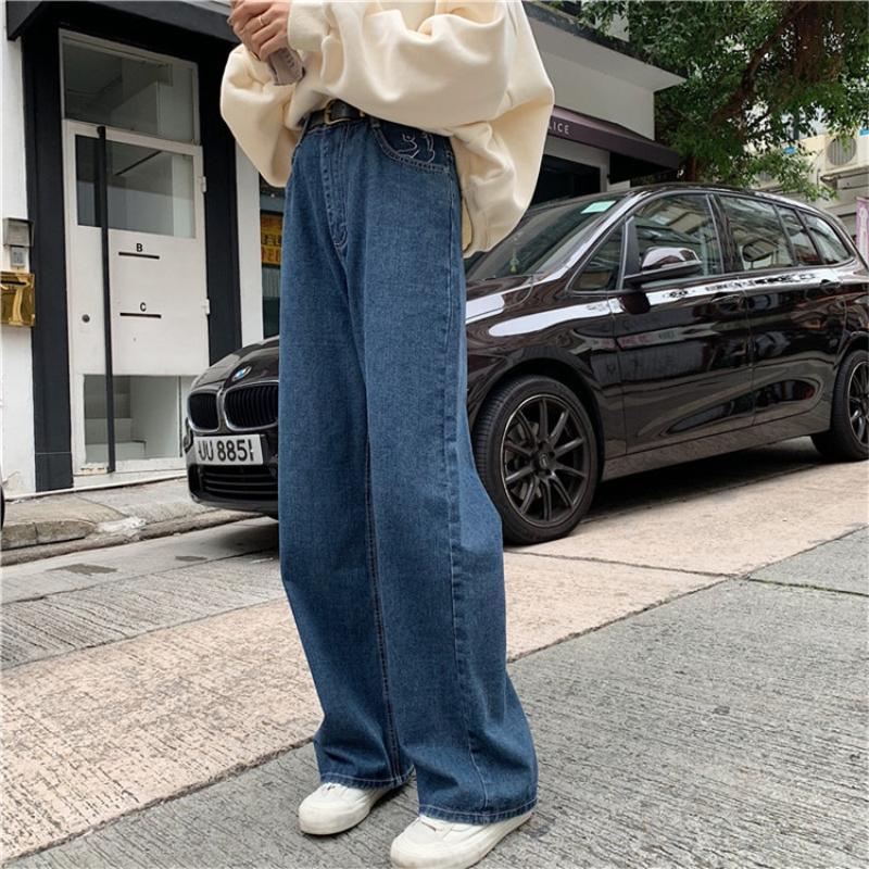 2020 Vaqueros autunno inverno mujer coreano stile vintage fidanzato ricamo casuali allentati signore dell'alta vita blu baggy