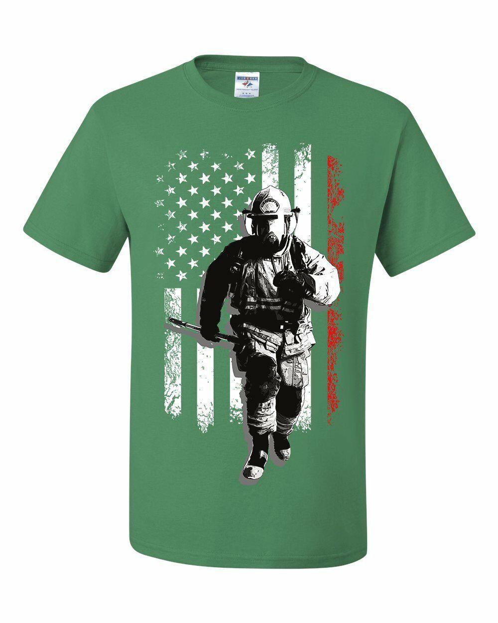 Bombero héroe nosotros Flag Camiseta roja de la raya de Incendios y Salvamento Fd 2019 estrenar de manga corta de algodón Imprimir camiseta de los hombres