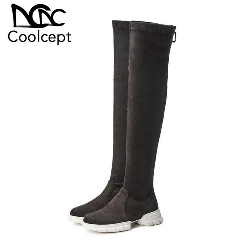 CoolCept Женщины натуральной кожи Stretch сапоги Повседневная зима над коленом Boots Толстая подошва платформы обувь женщина обувь Размер 34-39