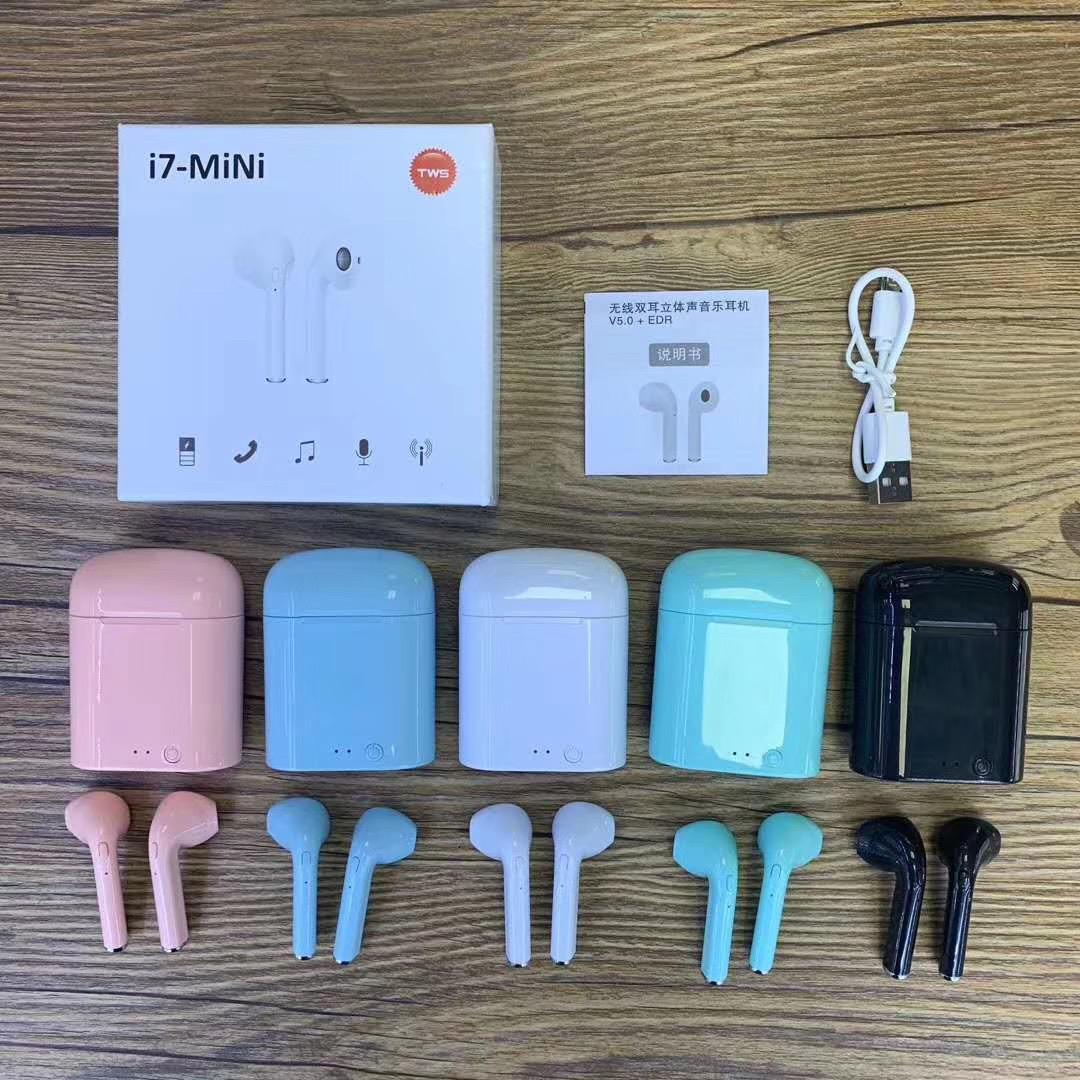 i7 Mini TWS inalámbrica Bluetooth para auriculares Auriculares Doble Con el muelle del cargador auriculares estéreo para el iPhone Xs 8 7 Plus S9 Plus Android