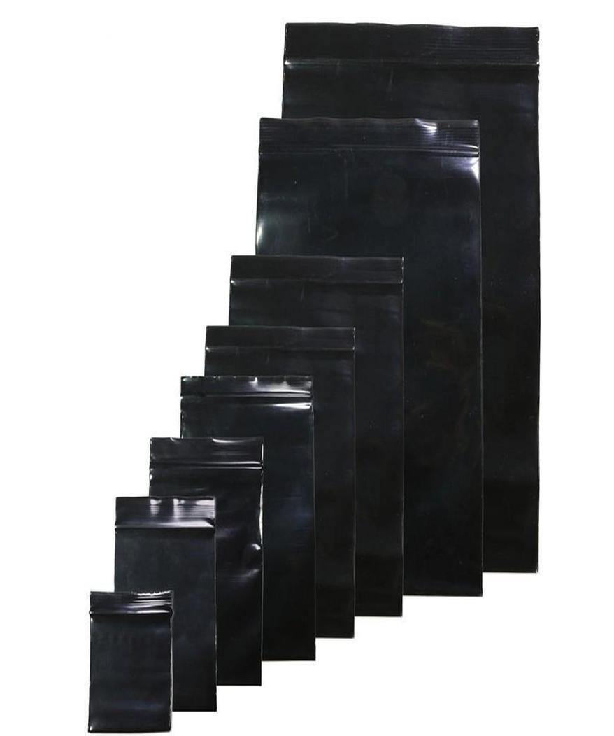 Emballage Sacs Poly stockage Zipper Noir 20x30cm Sac d'étanchéité auto Sacs en plastique 10x15cm Couleur home003 mzZZA