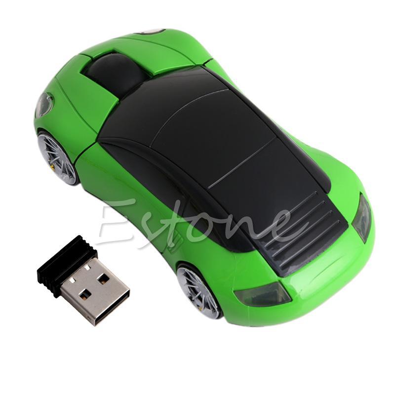2.4G 1600DPI ratón USB Forma receptor inalámbrico LED coche de la luz de los ratones ópticos Y3ND