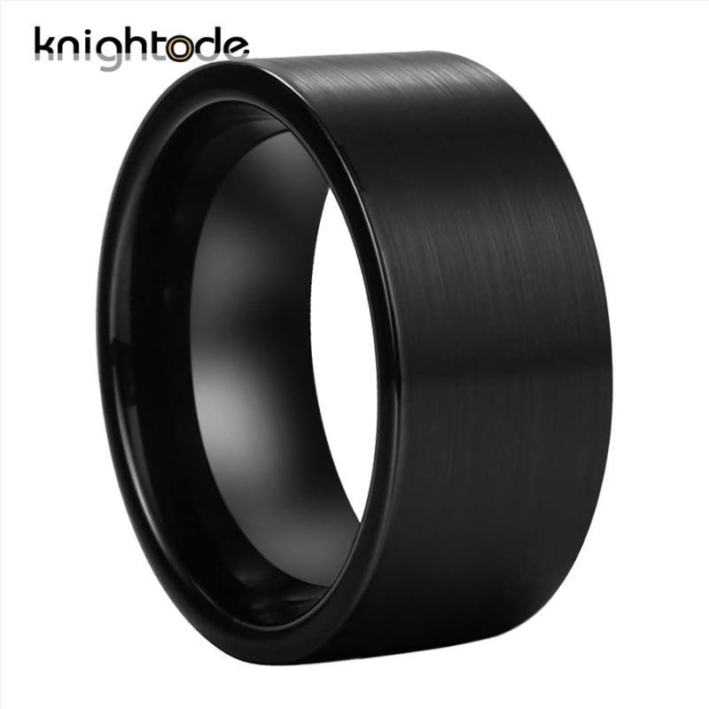12mm Breite Schwarz Big Daumenring Wolframkarbid-Ringe für Männer Mode-Partei-Schmuckflach Band gebürstet Comfort Fit