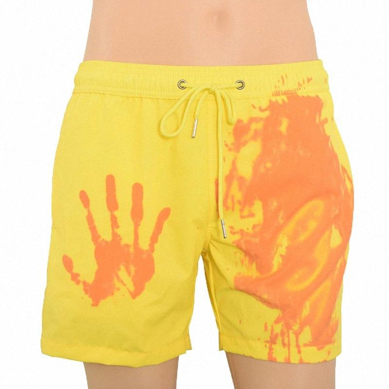 Homens Quick Dry Swimwear Praia Pants Descoloração Cor Shorts Natação Surf Shorts Cor Mudar Praia Pants K5d7 #