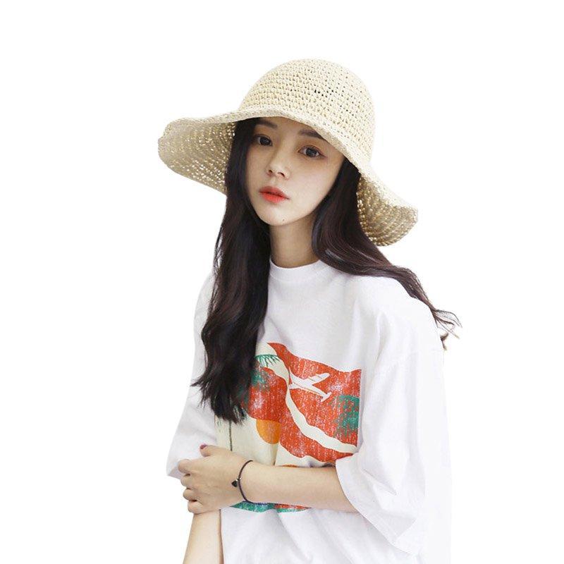 ROPALIASolid Sommer-Strand-Hut Weibliche beiläufige Hat-Dame-Marken-Frauen Dome Straw Cap Sun