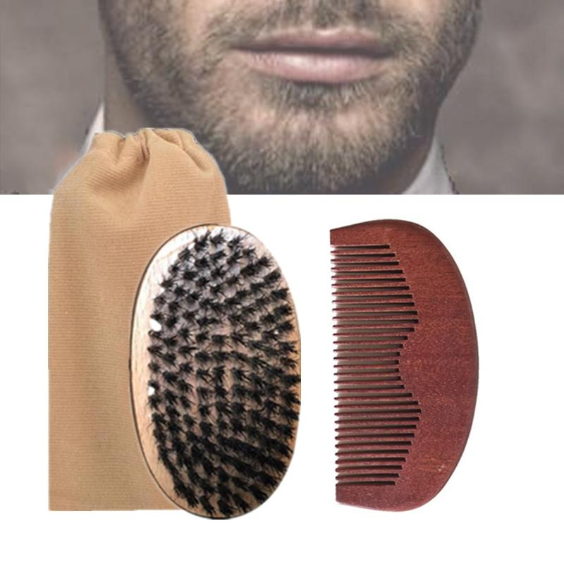 Brand New 3in1 Boar Bristle Beard Brush Amodong Wood Comb Cotton Bag Set Bearded Men Company Makeup Fashion Hair Care Styling Grooming Tool