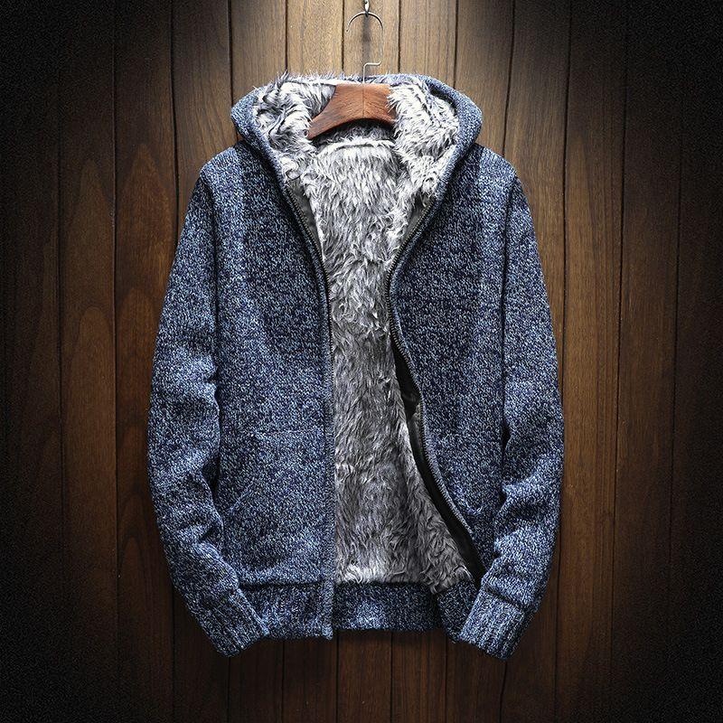 New casual knitting thick Hoodie Zip Hooded men Sweatshirts M-XXL T200914