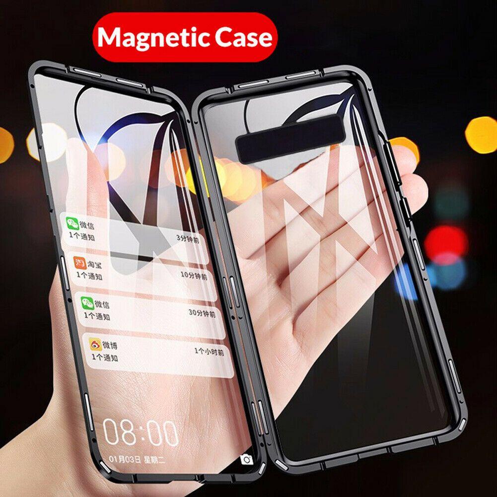 Samsung Galaxy S10 S20 S9 S8 Artı Not 9/10 Koruyucu Kapaklar için 360 ° Manyetik Çift temperli cam Kılıf Kapak Adsorpsiyon Telefon Kılıfları