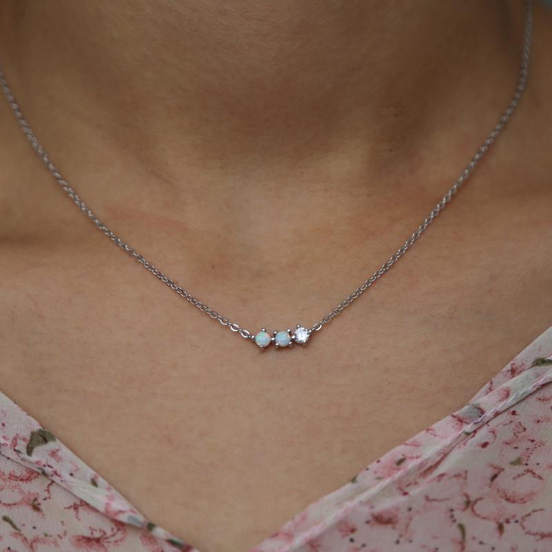 925 Sterling Silver faíscas pavimentada elegante brilhante minúsculo CZ Fogo Branco pingente de opala colares para as mulheres meninas Moda charme jóias