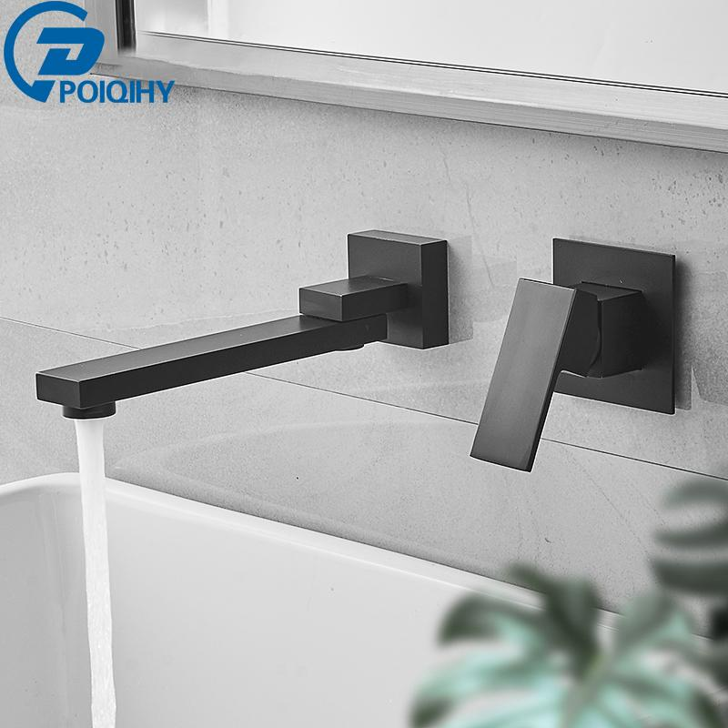 POIQIHY Wall Mounted Basin Faucet Brass Foldable and portable Bathroom Taps Single Handle Dual Holes Mixer Tap Faucet Cold Hot