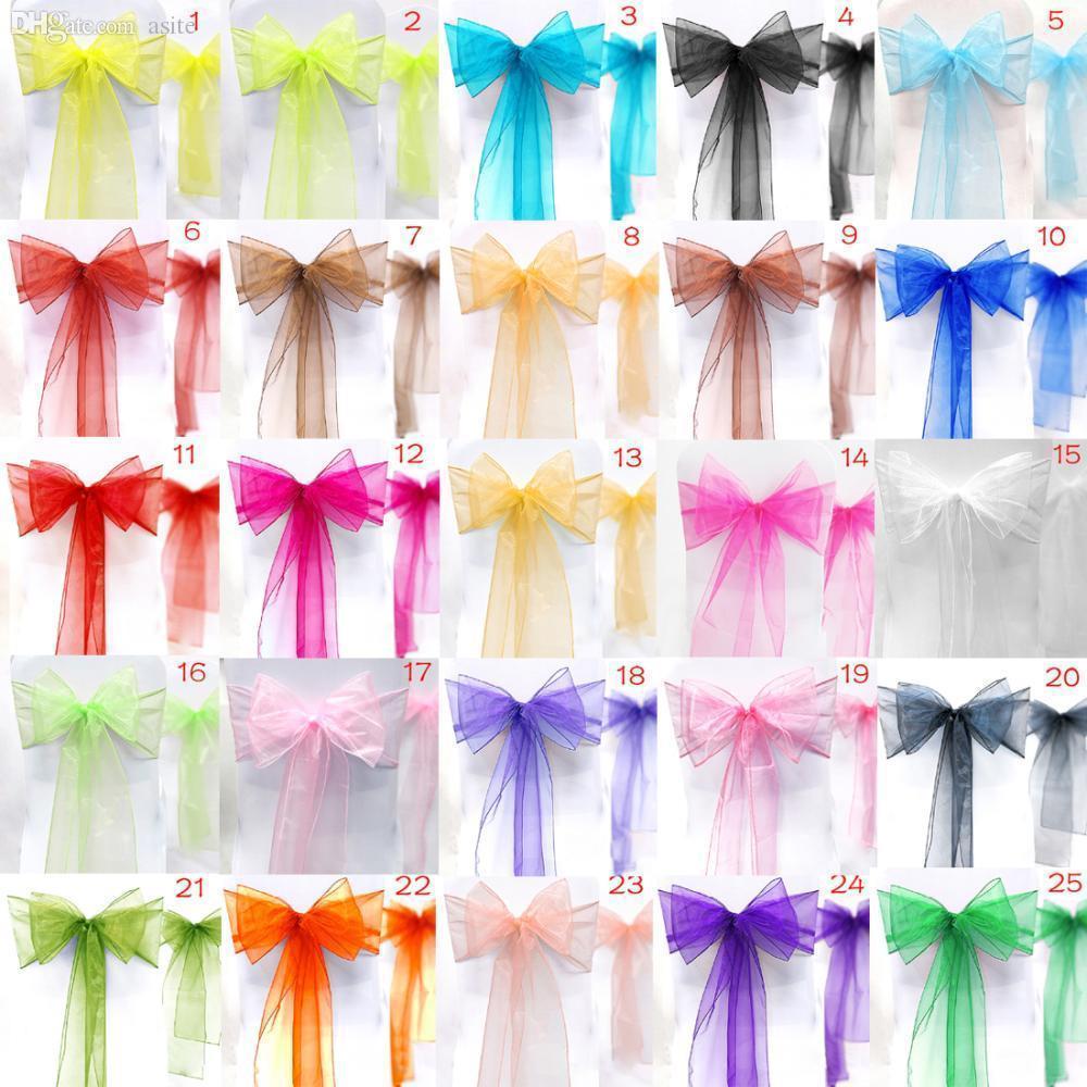 Partido de los marcos y la decoración Wholesale-10pcs / set Silla de novia nuevo Eventos Suministros 25 colores del arco del Organza E2008 luVQH
