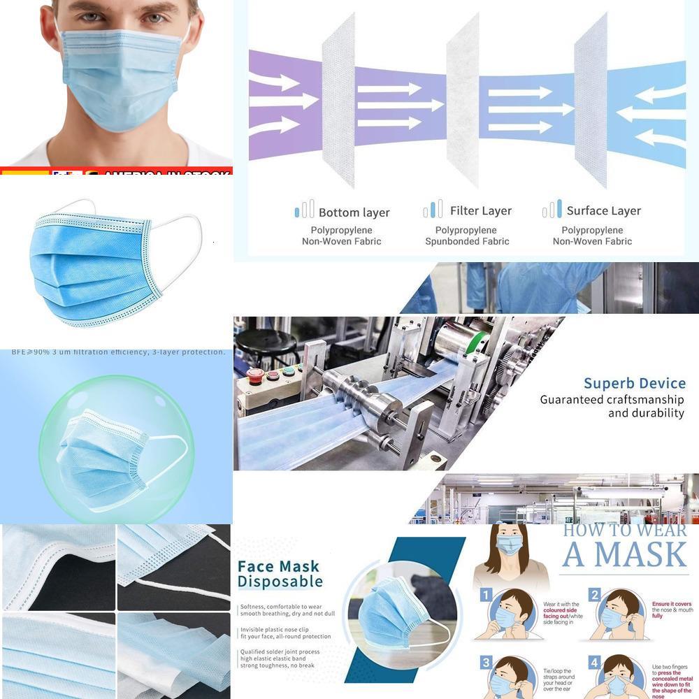 Máscaras 10-200Pcs 3ply Multicolor descartáveis, respirável para Face Anti Poeira Pólen, proteção diária Máscara com Layer e L1XZP