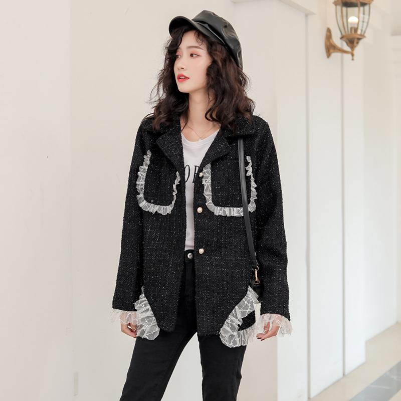 Jacket Female Black Shiny 2020 New Style Lace Korean Loose Small Fragrance Style Ladies Wild Design Spring Autumn Lace Top 98Q
