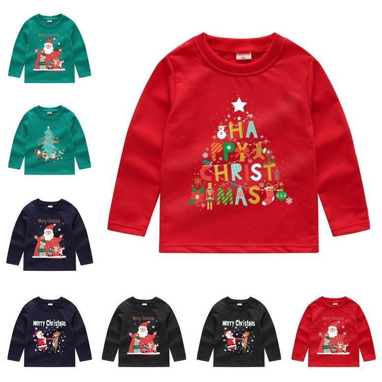 Bambini di Natale Felpe con cappuccio Bambini Ragazzi Ragazze Felpe Felpe Paillettes Paillettes Cartoon manica lunga Maglione T-Shirt Crew Collo Pullover Tops Vestiti E92403