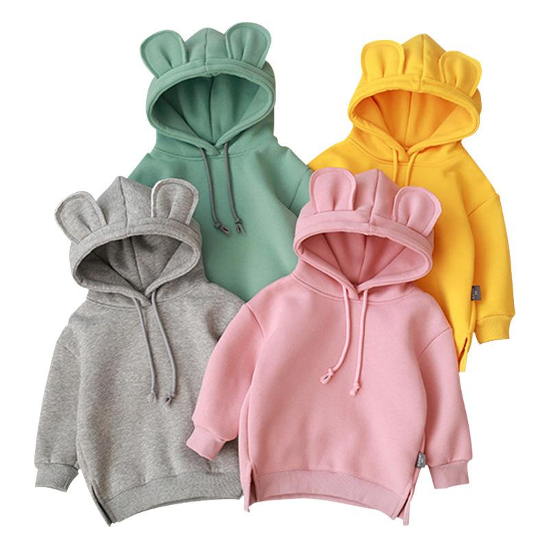 Дети мода сплошные цветные толстовки 2020 новое поступление с длинным рукавом с капюшоном пуловер мальчики девушки милая одежда 5 цветов детские кофты
