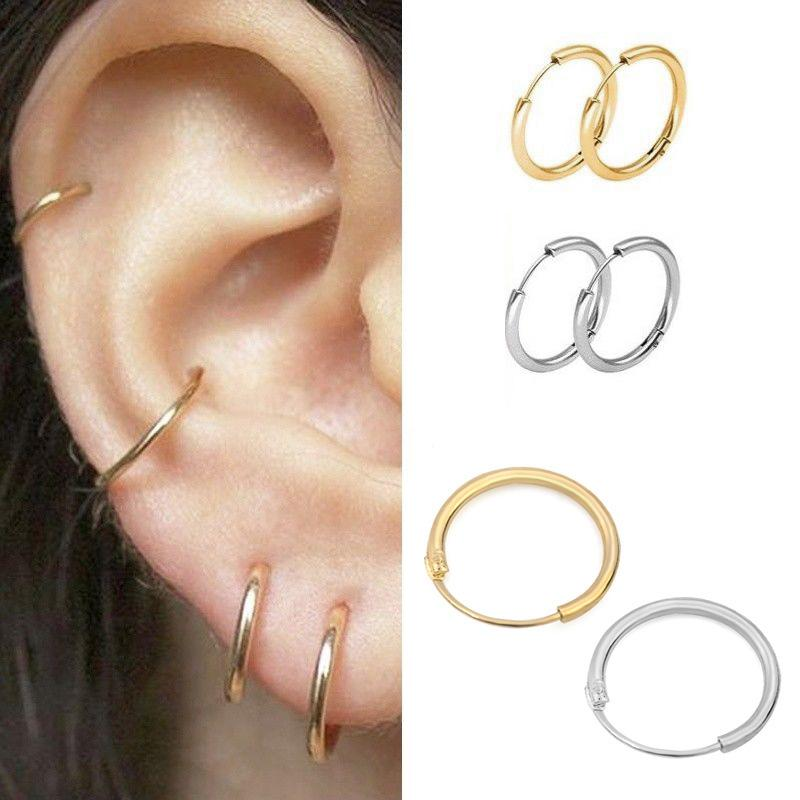 2020 New Vintage Rose Gold Multiple Dangle Small Circle Hoop Earrings for Women Jewelry Steampunk Ear Clip Gift
