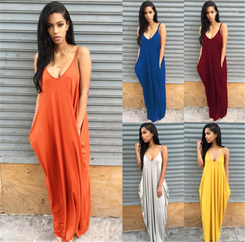 Elbiseler Katı Renk Derin V Yaka Gevşek Seksi Bayan Modelleri Cepler Yaz Asimetrik Womens ile Casual Maxi Elbiseler
