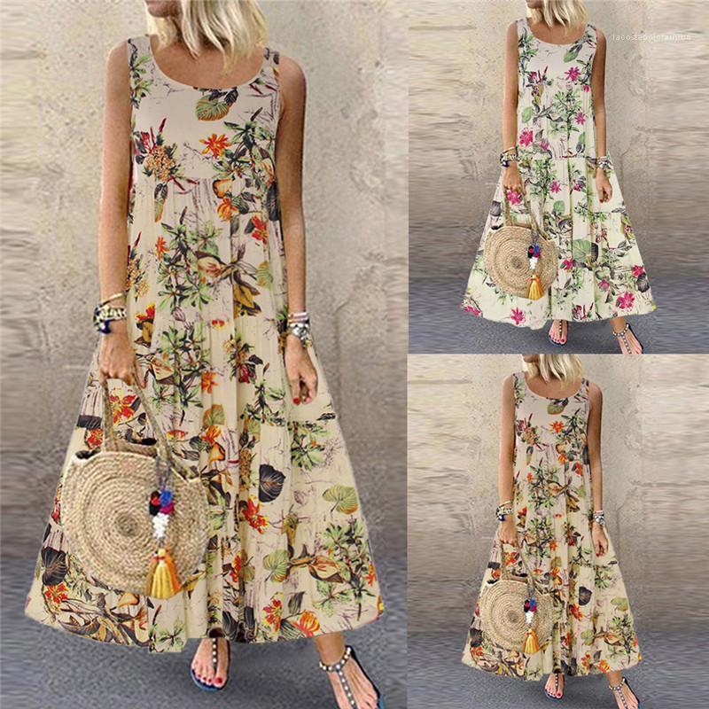 Drucke Mode Kleidung Ärmel Flora gedruckte Frauen-Kleid-beiläufige Retro Entwerfer-Sommer-Isolationsschlauch-Bügel-Kleid-Damen Ferien