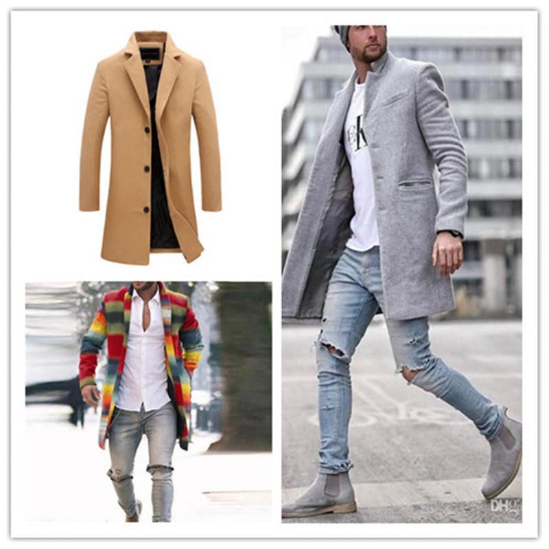 فاخر مصمم رجالي الشتاء معاطف موضة التلبيب كم طويل الرقبة الرجال يمزج الصوف عارضة الرجال ملابس خارجية الملابس مع زر