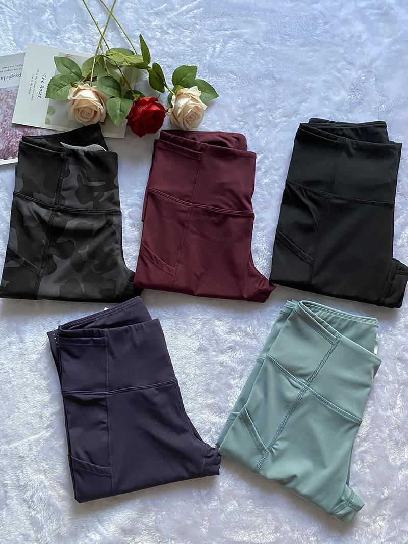 Kadınlar İki Cep Spor Tayt Kırpılmış Yoga Pantolon Tayt Yüksek Bel Koşu Capris Egzersiz Spor Giyim Spor Giyim