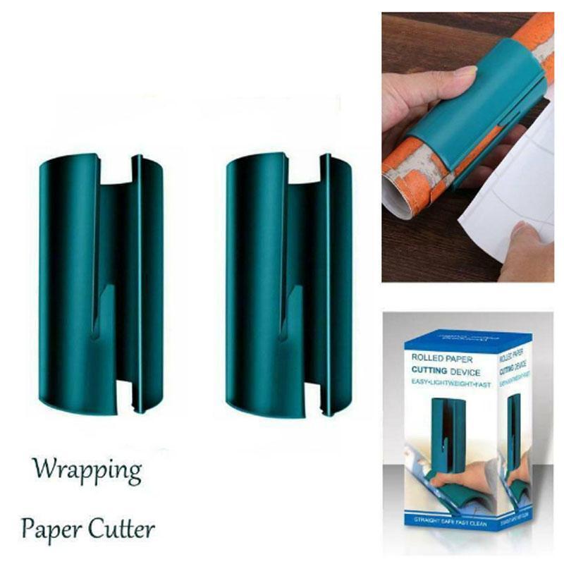 2X Sliding Embrulho cortador de papel do Natal do presente rolo de papel Ferramentas de Corte Decoração Cuts The Perfect Linha Tempo