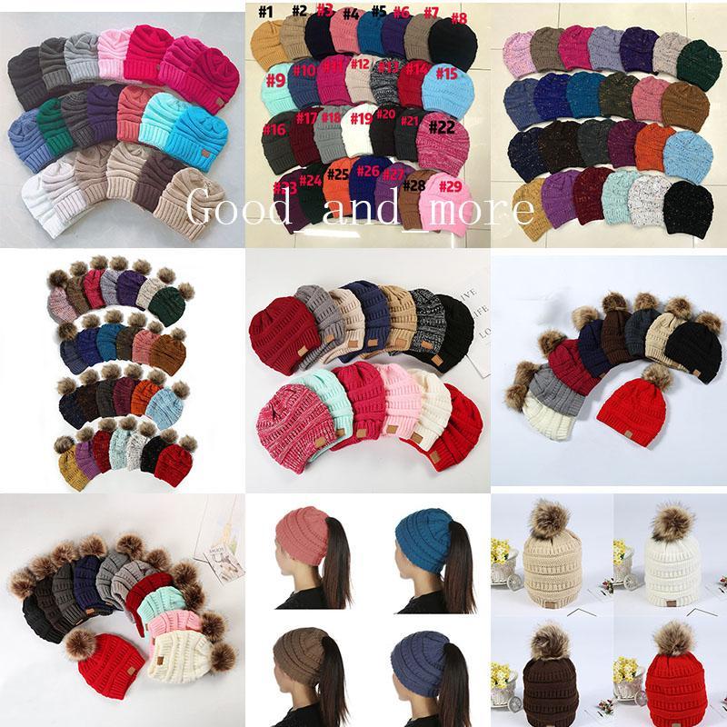 Lanas de la manera casquillo caliente señoras de la cola de caballo sombrero de invierno de punto vacíos tapa superior Bellas 7 estilos a prueba de viento de lana Cap