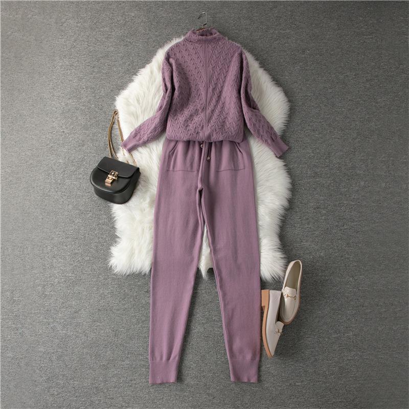2020 Yeni Kadın Triko Suit 2 Adet Örme Suits Kadın X0923 Sonbahar Kış Turtleneck Kazaklar Ve Uzun Pantolon ayarlar Kostümler izle