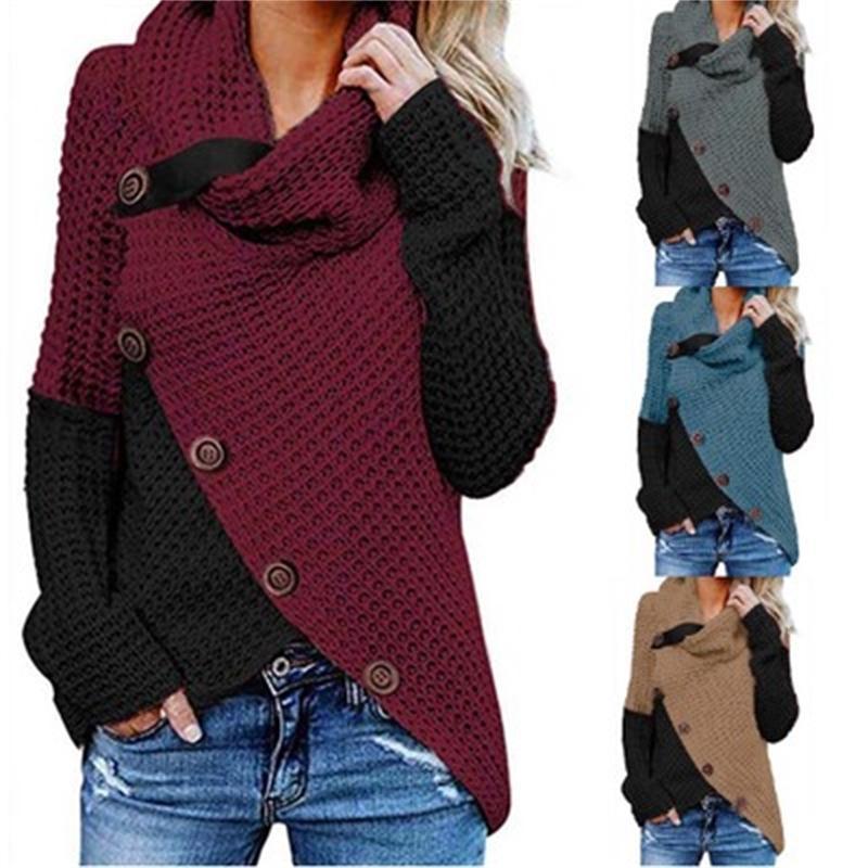 Frauen-Winter-Pullover mit Stehkragen Pullover Langarm-Button-Patchwork-Pullover Sweater Pull Femme Jumper Y200910