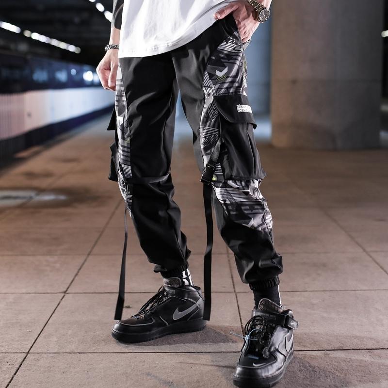 Multi-карман Гарем Hip Hop Брюки Streetwear Sweatpants Hombre Мужской Повседневная мода 2020 Cargo Мужчины Jogger Брюки