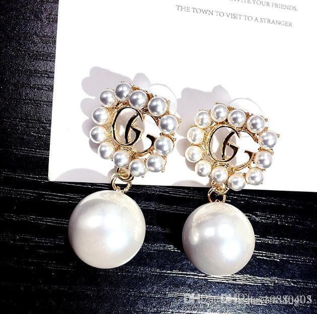 marchio Fashion Designer Argento Oro lettere orecchini placcati Ear Studs doppio G Earddrop per le donne Girl Party Jewelry 06.328