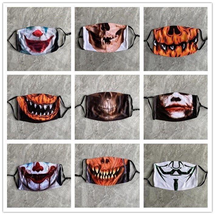 Halloween Cotton Máscara Moda abóbora Reutilização Máscara lavado PM2.5 respiratórios Filtros Máscaras Adulto Algodão Máscara EWF799