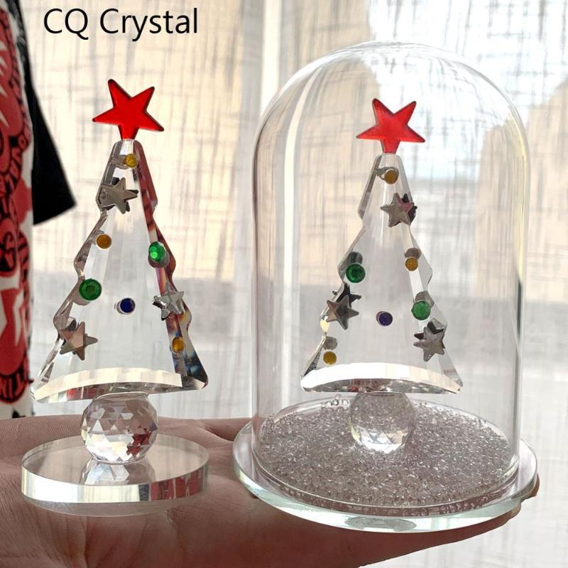 Cristal d'arbre de Noël miniature Figurines en verre Ornement cristal Artisanat Décoration