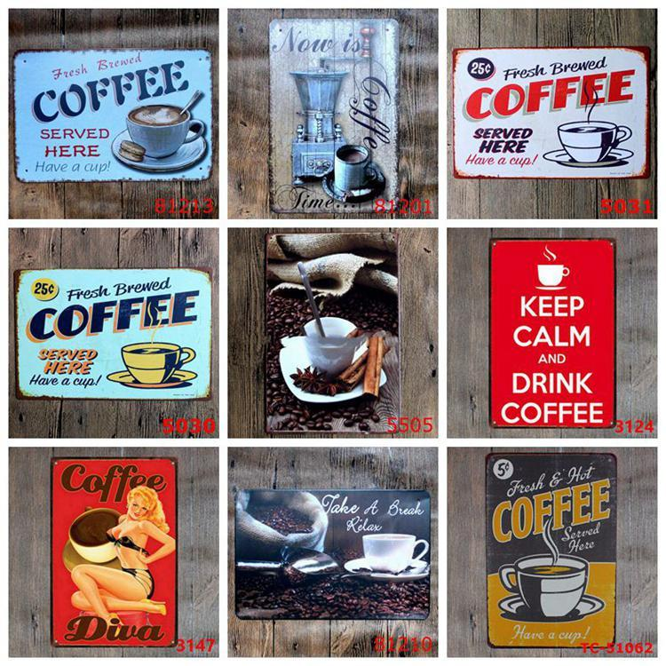 COFFEE Vintage Tin Signs Retro Metal Sign Retro Wall Stickers Decoration Art Plaque Vintage Home Decor Bar Pub Cafe DHB1078