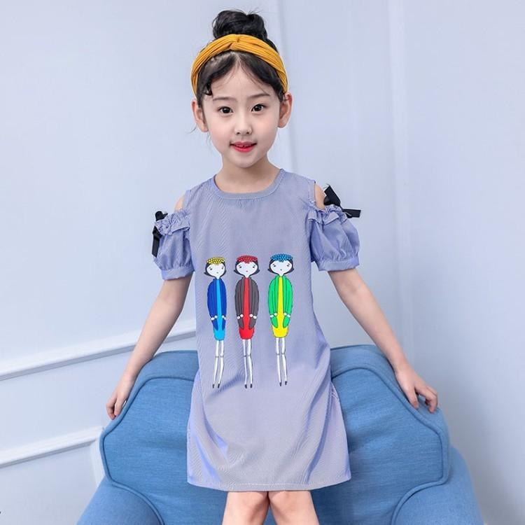 qQpif Çocuk Giyim kızlar Prenses peri jian 2020 askısız Yaz yeni lu cartoonshoulder elbise Batı tarzı prenses dr Qun skirtstriped