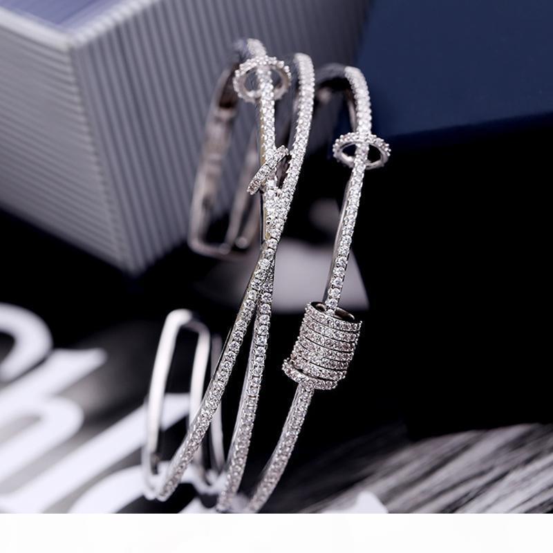 Silber Micro Intarsien Zirkon Mehrschichtige Smart-Ring-Armband Öffnung Design Schrauben-Cap Eröffnung einfache und elegante Armband zk40