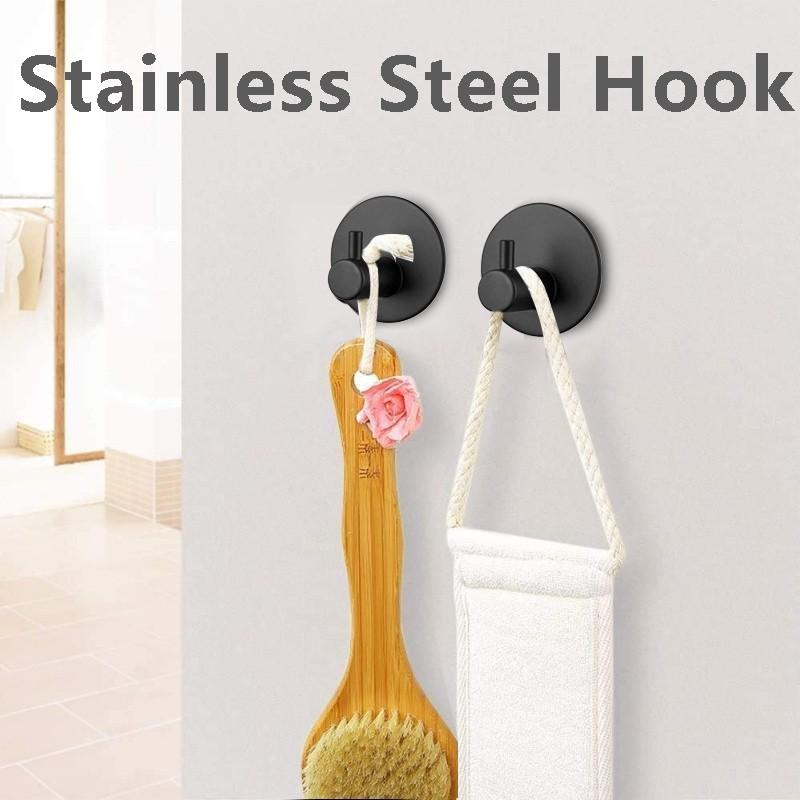 4pcs Black Strong Suction Hooks Nordic Style Stainless Steel Hole Free Hook Home Decoration Cup Sucker Hanger Key Holder d3