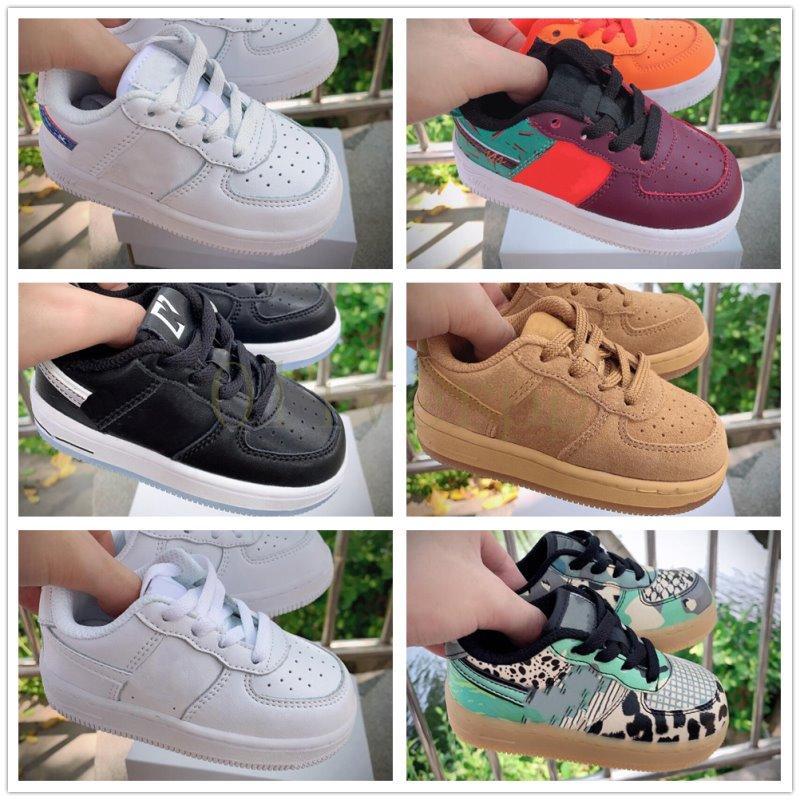 nike air force 1 af1 Pas cher Kids Classic 1 Designer Shoes High Cut enfants Boucle Chaussures avec boucle Chassures Un Enfant Chaussures de sport en cuir de basket-ball Formateurs