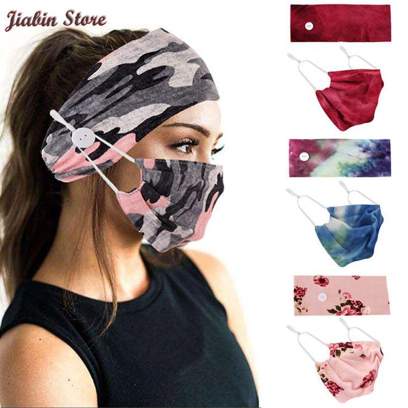 Tie-Dye Cotton Button Hair Band Printed European and American Hair Band Mask Scarf Ornament Yoga Sports Elastic Headband women