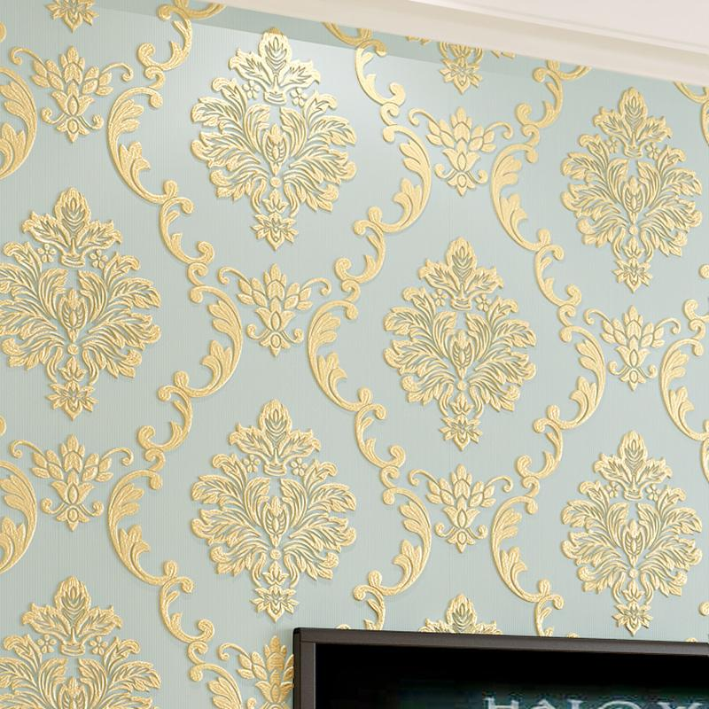 Wholesale-European Style Non-woven Wallpaper Damask 3D Stereoscopic Relief Damascus Bedroom Living Room Wall Paper Home Decor Paper ju0131
