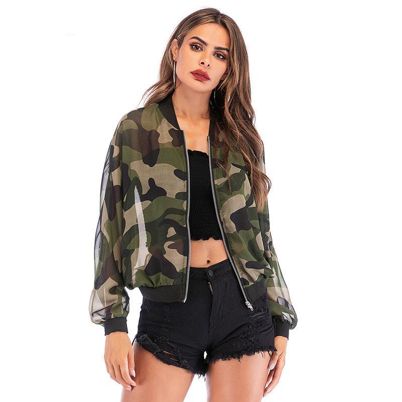 Camouflage-Jacke Frauen Langarm Zipper O Ansatz Armee-Grün dünne Mäntel Summer Light Jacken für Damen 2020 Art und Weise Outwear
